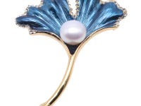 Beautiful Ginkgo Leaf Shape 11.5mm White Pearl Brooch