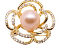 High Quality 12.5mm Pink Pearl Flower Brooch