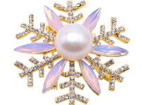 Beautiful 13.5mm White Pearl Snowflake Brooch