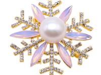 Beautiful 13.5mm White Pearl Snowflake Brooch