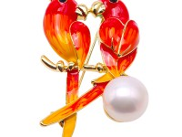 Exquisite 13.5mm Colorful Lovebirds Pearl Brooch