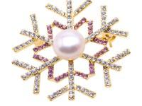 Beautiful 12mm White Pearl Snowflake Brooch