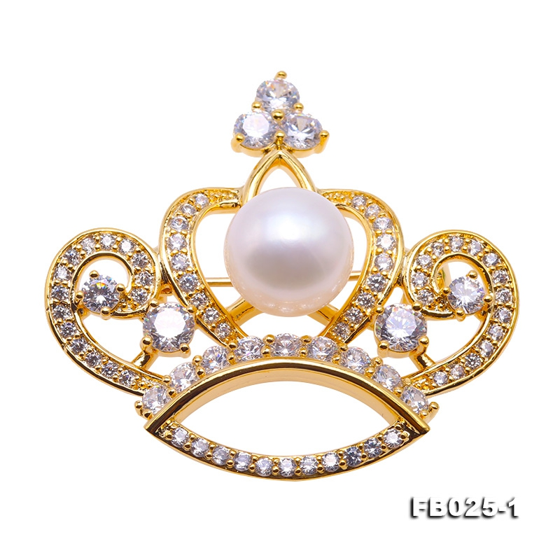 Beautiful Crown-shape 10mm White Pearl Brooch