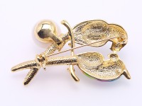 Exquisite 13mm Colorful Lovebirds Pearl Brooch