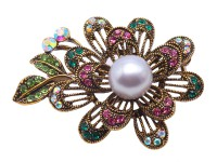 Beautiful Flower-shape 11mm Gray Pearl Brooch
