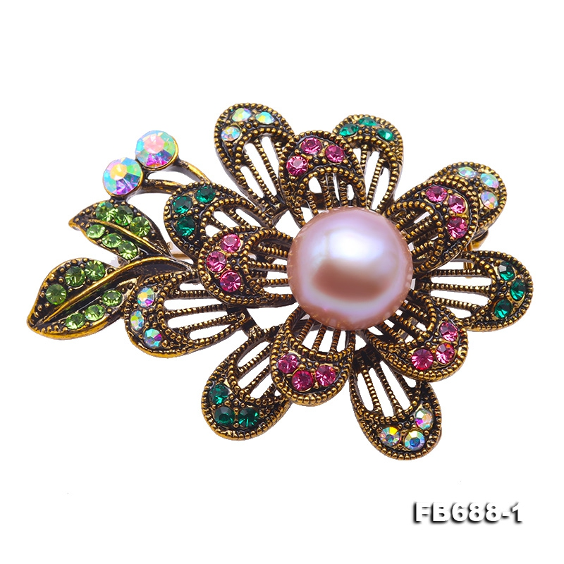 Beautiful Flower-shape 11.5mm Lavender Pearl Brooch