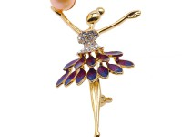 High Quality Ballet Dancer 9.5mm Pink Pearl Brooch