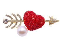 Delicate Cupid's Arrow 10mm Freshwater Pearl Brooch