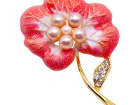Beautiful 3.5-5mm Lavender Pearl Flower Brooch