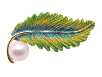 Exquisite Leaf-shape 12mm Freshwater Pearl Brooch