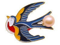 Lovely Swallow-shape 9,5mm Freshwater Pearl Brooch