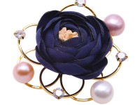 Lovely Rose Design 9.5-10mm Pearl Brooch