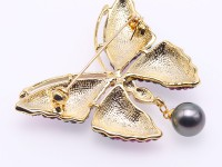 Luxurious Pearl Brooch Series—9.5mm Black Tahitian Pearl Pendant