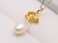 Exquisite 8.5×13.5mm White Freshwater Pearl Pendant