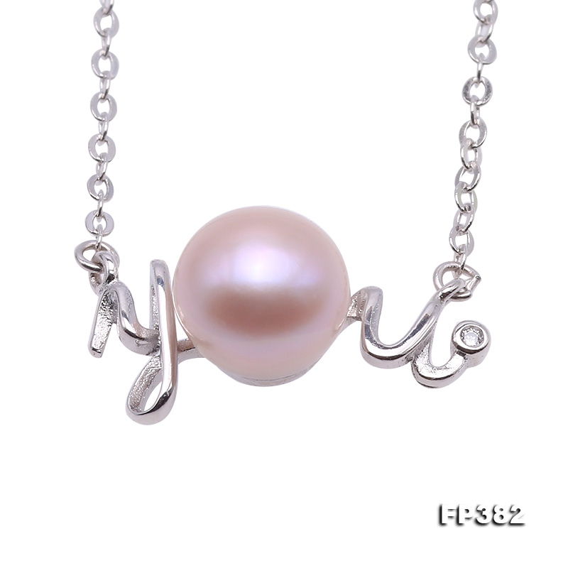 You-shaped 7mm Lavender Pearl Pendant with a Sterling Silver Chain