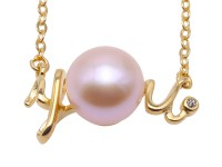 You-shaped 7mm Pink Pearl Pendant with a Sterling Silver Chain