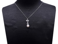 Exquisite 8.5x10mm White Freshwater Pearl Pendant in Sterling Silver