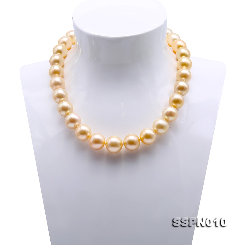 Collection Level Huge 14-16mm Golden South Sea Pearl Necklace in 18k Gold