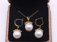 Exquisite 12.5mm White Pearl Earrings & Pendant Set in Sterling Silver