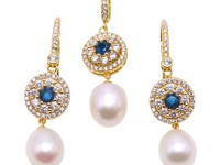 Exquisite 9x11mm White Pearl Earrings & Pendant Set in Sterling Silver