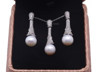 Exquisite 9.5-10mm White Pearl Earrings & Pendant Set in Sterling Silver