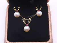Exquisite 9x10mm White Pearl Earrings & Pendant Set in Sterling Silver