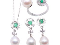Exquisite 8.5×10.5mm White Pearl Pendant Earring & Ring Set in Sterling Silver