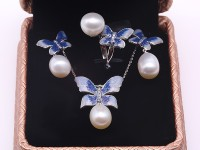 Exquisite 9x13mm White Pearl Pendant Earring & Ring Set in Sterling Silver