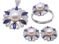 Exquisite 6.5-10.5mm White Pearl Pendant Earring & Ring Set in Sterling Silver