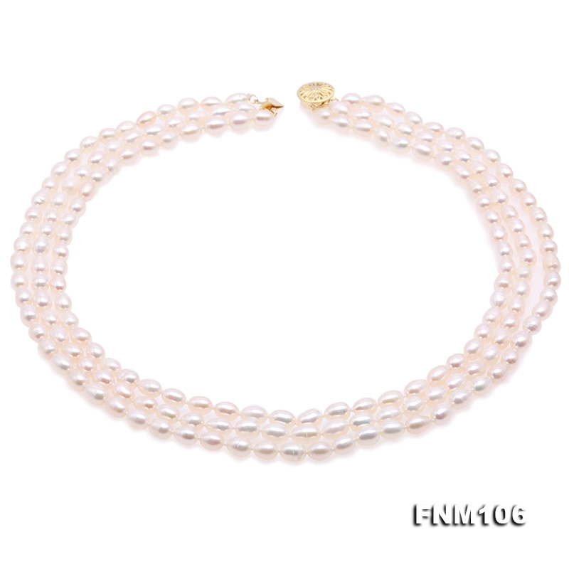 Delicate Three-Strand 5-5.5mm White Oval Pearl Necklace
