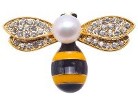 Exquisite Bee-shape 9.5mm Freshwater Pearl Brooch