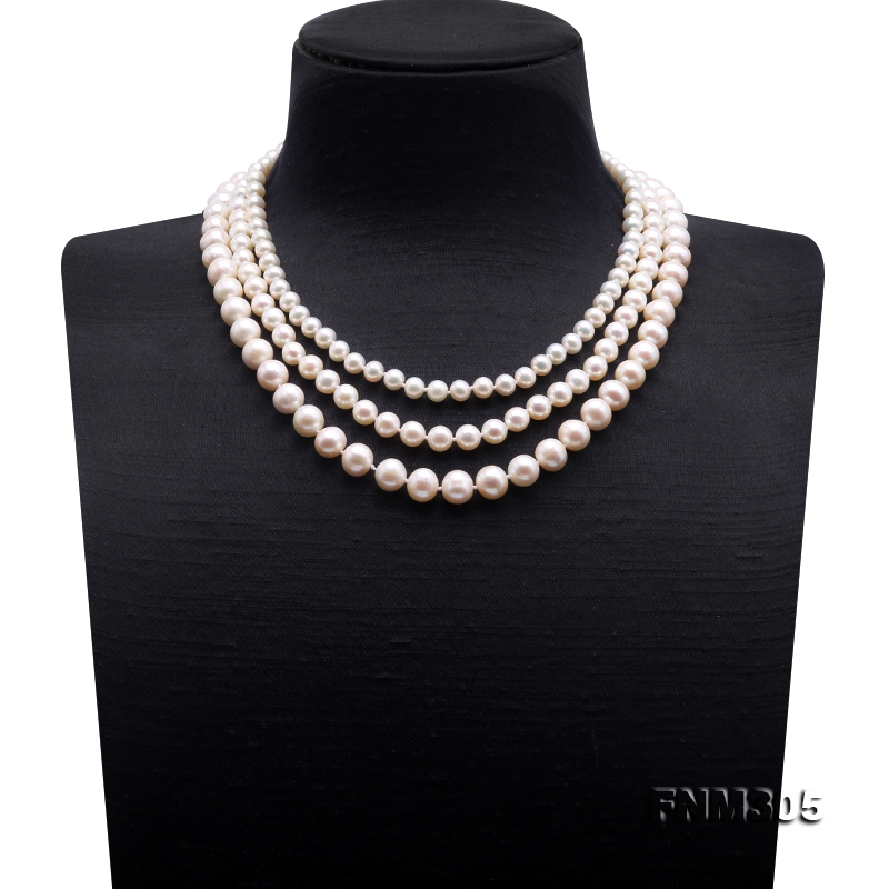 High Quality 6-10mm Three-Strand White Round Pearl Necklace
