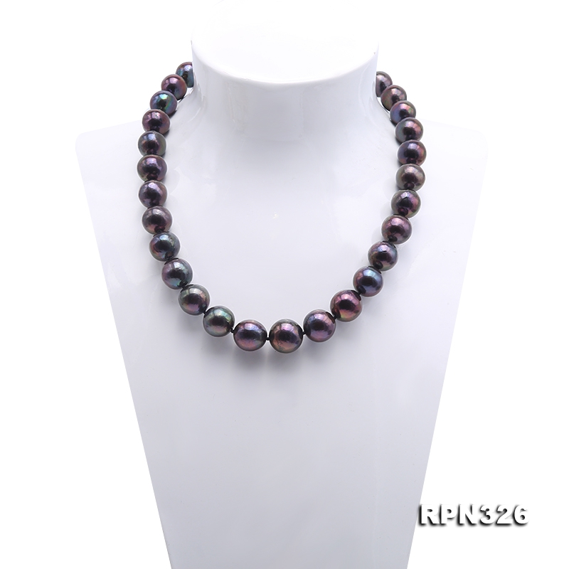 Incredibly Huge 13-16mm Black Edison Pearl Necklace