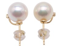 Fine 18K Gold 9mm Akoya Cultured Pearl Earring Studs Dotted with Diamonds
