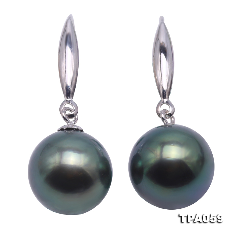 Gorgeous 10.5-11mm Peacock Tahitian Pearl Earring with 14k Gold
