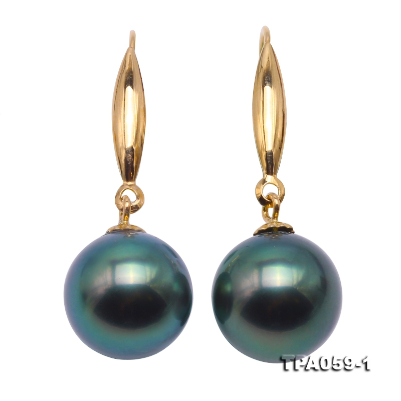 Gorgeous 10.5mm Peacock Tahitian Pearl Earring with 14k Gold