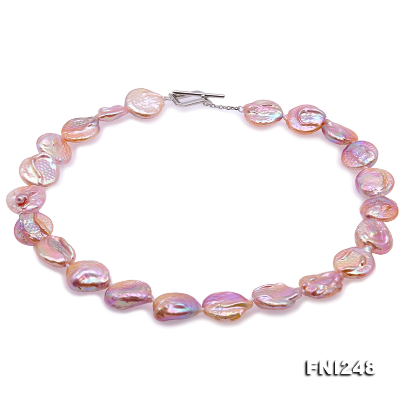 Unique 16.5×17-16.5×19mm Pink Baroque Pearl Necklace