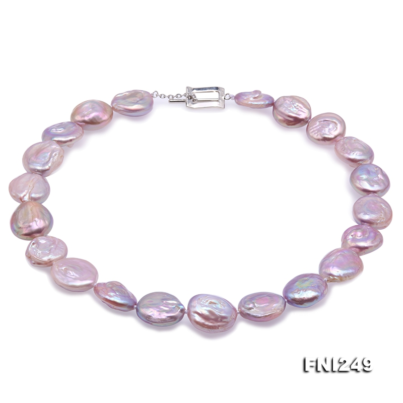 Unique 17.5×19-18×20mm Lavender Baroque Pearl Necklace
