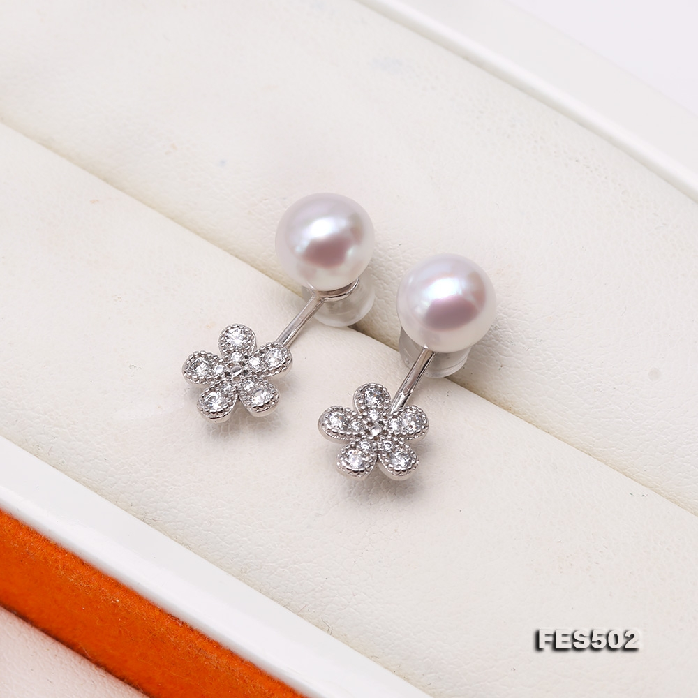 Exquisite 7.5mm Waterdrop White Freshwater Pearl Dangle Earrings
