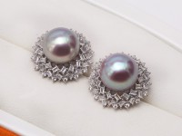 Huge 13-13.5mm Purple Freshwater Cultured Pearl Stud Earrings 925S