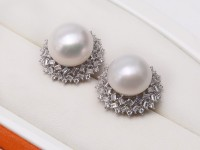 Huge 13-13.5mm White Freshwater Cultured Pearl Stud Earrings 925S