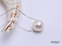 Super-size 12.5mm Classic White Round Freshwater Pearl Pendant with a Silver Chain