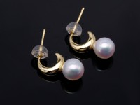 Charming 7.5mm White Pearl Earrings in Sterling Silver