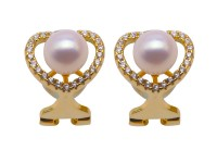 Boutique 8mm White Freshwater Pearl Ear Clip Women 925 Sterling Silver Earrings