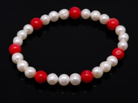 Chic White Freshwater Cultured Pearl and Red Coral Bracelet