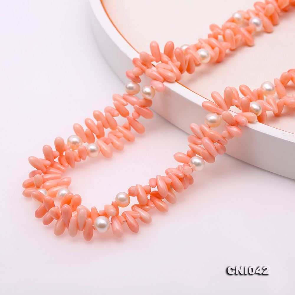 Elegant Long Pink Coral Beads and White Freshwater Cultured Pearl Necklace