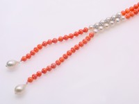 Elegant 6mm Single Strand Small Coral Beads Necklace