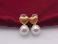 Boutique Heart 8mm White Teardrop Freshwater Pearl Stud Earrings for Women