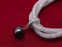 12mm Fashion Women Crystal Chain Black Tahitian Pearl Bracelet 8″