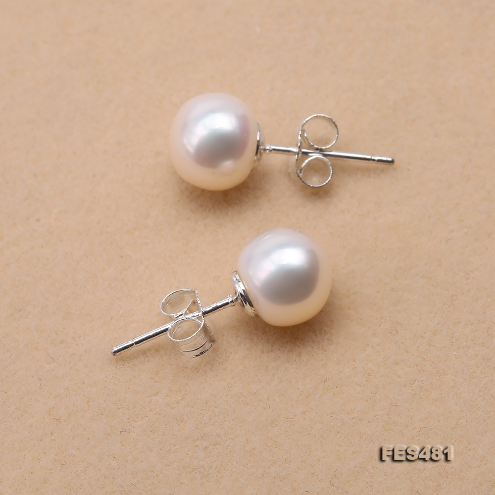 Exquisite 8mm Flat Round White Freshwater Pearl Stud Earrings